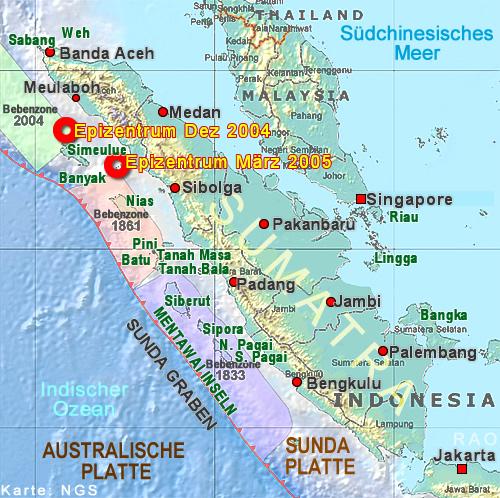 karte sumatra indonesien RAOnline EDU: Erdbeben   Tsunami   Indonesien   Sumatra Karte
